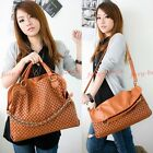 Women Dual Faux Leather Wave Chain Satchel Tote Shoulder Bag Messenger