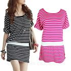 Drop Waist Stripe Bodycon Mini Dress Japan Ladies Vintage Casual Dresses sz 8 10