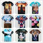 Men Women's 3D Cool Cat Dog Girl Cake Tiger Glasses Round Top Tee Funny T-shirt