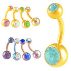 Anodized navel bars button belly ring piercing Crystal Steel body jewellery 9HJB