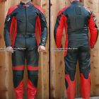 2pc Thunder Motorcycle Race Racing Street Riding Leather Track Suit Red Armor