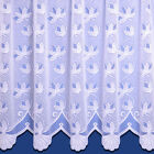 Chloe Jacquard Net Curtain White. Beautiful Scalloped Bottom. Sold By The Metre.