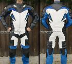 2pc Viper Downhill Skating Skateboarding Street Luge Leather Suit Blue GP Armor