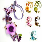 """""""Handmade"""" Leather Flower Necklace Pendant Charm 23 in Anemone Choose Color eha1"""