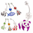 Animal dangle belly piercing bars steel navel rings button 9HIG-STYLES TO SELECT