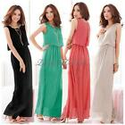Ladies Chiffon Maxi Dress Size 8-24 Summer Long Skirt Evening Cocktail Party TOP