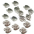 Lot 50 Silver MADE WITH LOVE CZ Heart Charms Pendants Necklace Beads DIY 4 Style