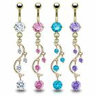 Gold Plated CZ Vine Dangle 14G Belly Navel Ring Body Jewelry Wholesale