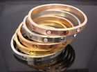 New Punk Stainless Steel Bracelet Without Crystal Screw Heads Cuff Bangle Jf397