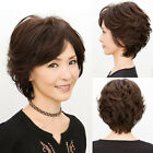 Middle Age Women's Ladies Short Curly Wavy Full Wig Hair Black Brown Daily Wear