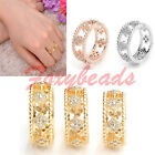 us5-us7 Women Good Lucky Four Leaf Clover Cubic Zirconia Happiness Ring FB