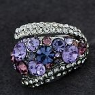 ARINNA Violet Rhinestone Cocktail Ring 18K White Gold Plated Austrian Crystal