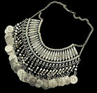 Bohemia Retro Zamac Handmade Carving Coin Fringe Collar Statement Necklace