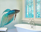 Wall Decal No.353 Blue Siamese Fighting Fish  Wall Sticker Swim Water Animal