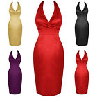 Womens Ladies New Fitted Satin Curvy 50S Vtg Pencil Evening Cocktail Party Dress