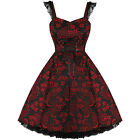 Ladies New H&R Red Floral Jacquard Gothic Vintage Boho 50S Evening Party Dress