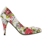 Iron Fist Creepy Rose Pink White Floral Vintage Style High Heel Pumps Shoes