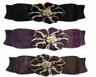 Vintage  50's style cinch waist elastic belt with large flower buckle