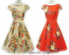 "Rosa Rosa ""English Garden"" Floral WWII 1930's/40's Vtg Land Girl Swing Tea Dress"
