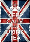 KC10 Vintage Style Union Jack Keep Calm Drink Tea Funny Poster Print A2/A3/A4