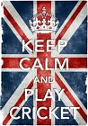 KC16 Vintage Style Union Jack Keep Calm Play Cricket Funny Poster Print A2/A3/A4
