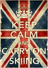 KCV2 Vintage Union Jack Keep Calm Carry On Skiing Funny Poster Print A2/A3/A4