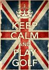 KCV15 Vintage Style Union Jack Keep Calm Play Golf Funny Poster Print A2/A3/A4