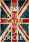 KCV16 Vintage Union Jack Keep Calm Play Cricket Funny Poster Print A2/A3/A4