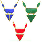 New European Style Gold Plated Alloy Resin Gem Geometry Pendant Necklace