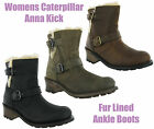 New Womens CAT Caterpillar Anna Kick Fur Lined Leather Ankle Boots Size 4-8 UK