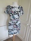 BNWT SOLD OUT @ TOPSHOP BLACK & WHITE FLORAL FITTED DRESS SIZE 8 & 10 RRP 55.00