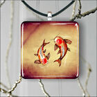 Koi fish asian style drawing SQUARE PENDANTS NECKLACE MEDIUM OR LARGE -jv5y