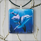 SEA LIFE DOLPHINS FAMILY #2 SQUARE PENDANTS NECKLACE MEDIUM OR LARGE -c5th