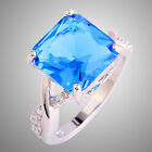 Showy Fashion Jewerly Gift Blue & White Sapphire Gems Silver Ring Size N P R T