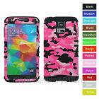For Samsung Galaxy S5 Pink Camo Hybrid Rugged Impact Protector Phone Case Cover