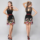 Padded Floral Printed Chiffon Lace Empire Line Casual Dress 03662