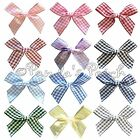 7mm Gingham Polyester Ribbon Bows - Choose Colour and Pack Size