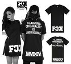 "weilin Unisex Hipster ""FCK"" Extra Long Side Zip Up Hip Hop T Shirts Y0440"