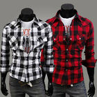 NEW Men's Comfort Casual Slim Fit Plaid Cotton Stand Collar Long Sleeve Shirts