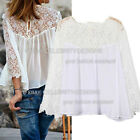 tp111 Celebrity Style Chiffon Crochet Lace Shoulder Summer White Blouse Top