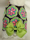 DOG CAT FERRET~Corduroy Bright Retro Flowers Daisy Harness LIME GREEN BOW & LACE