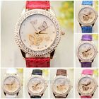 Fashion Womens Butterfly Pattern Rhinestone PU Leather Band Quartz Wrist Watch