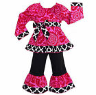 AnnLoren Girls Boutique Smock Hot Pink Lattice Blossom Outfit  12/18 mo- 9/10