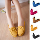 Women's Round Toe Geniune Suede Loafers Bowknot Driving Sneakers Casual Shoes