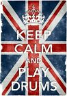 KC29 Vintage Style Union Jack Keep Calm Play Drums Funny Poster Print A2/A3/A4