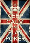 KCV18 Vintage Style Union Jack Keep Calm Play Poker Funny Poster Print A2/A3/A4