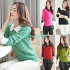 New Women Peter Pan Collar Long Sleeve Casual Knitwear Blouse Pullover Slim Tops