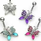 Frosted Gem Butterfly14G Belly Navel Ring Body Jewelry Wholesale