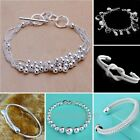 Wholesale Fashion Jewellery Solid 925 Silver Bracelet bangle Lady Mens Gift