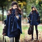 New Fashion Cape Wool Poncho Cloak Coat Jacket Batwing Double-breasted Outwear